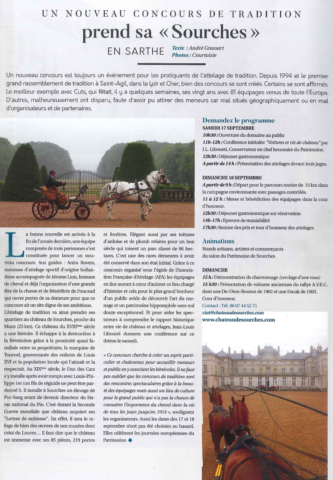 chateaudesourches - Attelages Magazine aout 2016